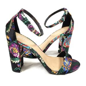 Oriental Bright Floral Strappy Sandals